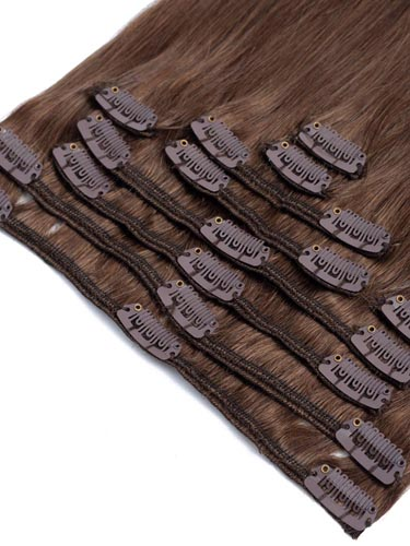 Fab Clip In Remy Hair Extensions - Full Head #4-Chocolate Brown 18 inch