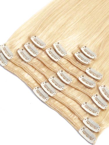 Fab Clip In Remy Hair Extensions - Full Head #613-Lightest Blonde 15 inch