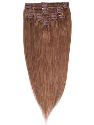 Fab Clip In Remy Hair Extensions - Full Head #8-Light Brown 26 inch