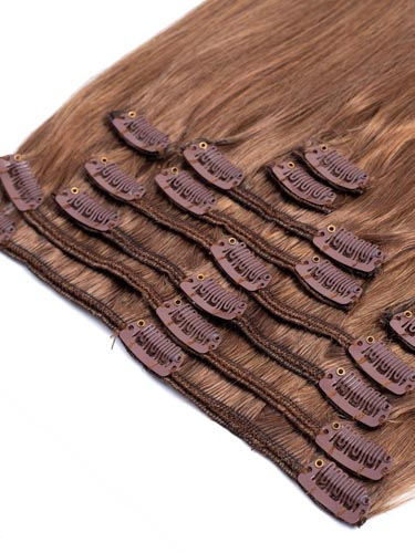 Fab Clip In Remy Hair Extensions - Full Head #8-Light Brown 22 inch