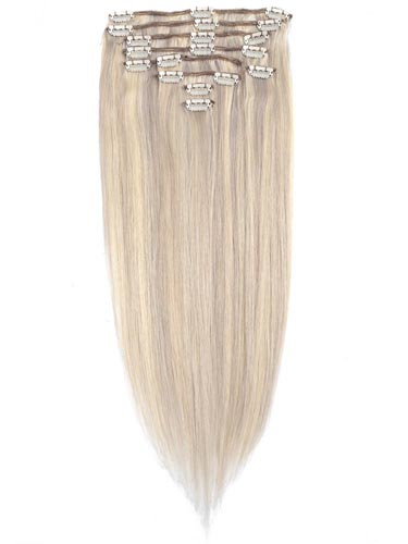 Fab Clip In Remy Hair Extensions - Full Head #Grey Blonde with Lightest Blonde Mix 24 inch