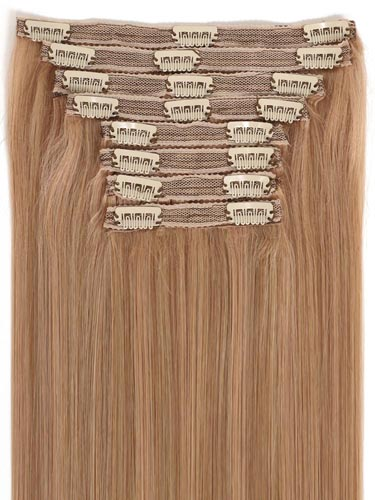 Fab Clip In Lace Weft Remy Hair Extensions (140g) #10/16-Medium Ash Brown with Medium Blonde 20 inch