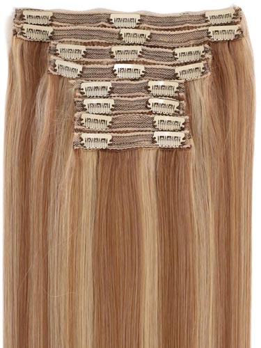 Fab Clip In Lace Weft Remy Hair Extensions (140g) #12/16/613-Light Golden Brown/Sahara Blonde/Lightest Blonde Mix 20 inch
