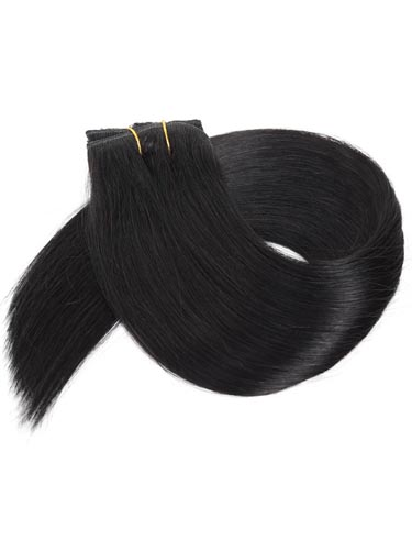Fab Clip In Lace Weft Remy Hair Extensions (140g) #1-Jet Black 20 inch