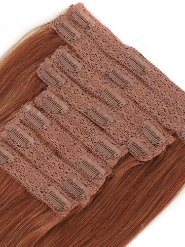 Fab Clip In Lace Weft Remy Hair Extensions (140g) #30-Auburn 20 inch
