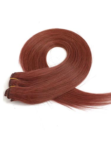 Fab Clip In Lace Weft Remy Hair Extensions (140g) #33-Rich Copper Red 20 inch