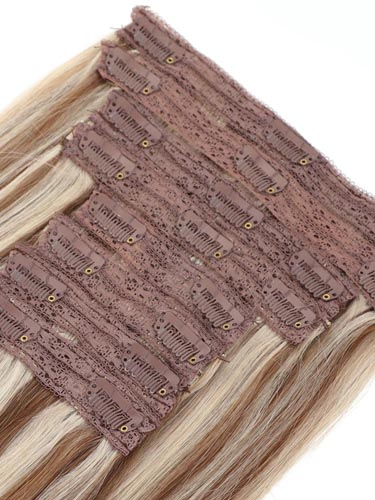 Fab Clip In Lace Weft Remy Hair Extensions (140g) #6/60-Medium Brown with Platinum Blonde Highlights 20 inch