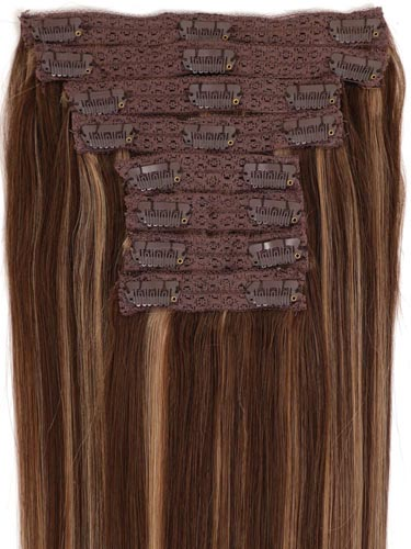 Fab Clip In Lace Weft Remy Hair Extensions (140g) #4/27-Chocolate Brown with Strawberry Blonde 20 inch