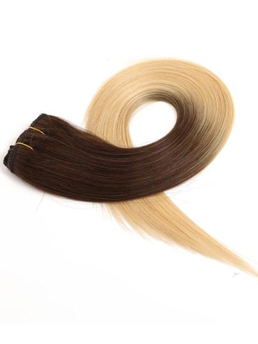 Fab Clip In Lace Weft Remy Hair Extensions (140g) #T4/613-Dip Dye Chocolate Brown to Lightest Blonde 20 inch