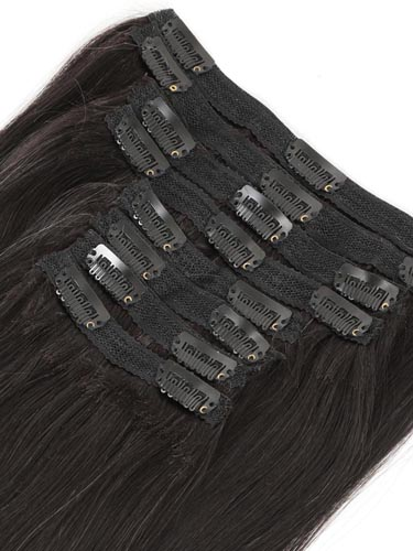 Fab Clip In Lace Weft Remy Hair Extensions (140g) #T1B/27-Dip Dye Natural Black to Strawberry Blonde 20 inch