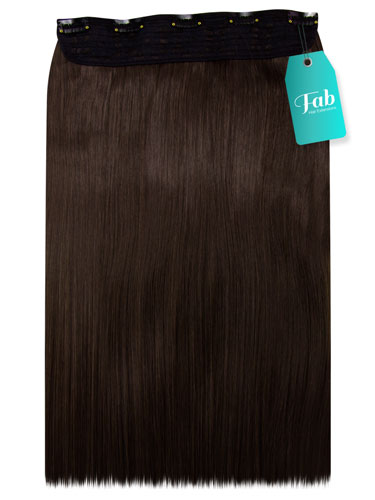 Fab Clip In One Piece Synthetic Hair Extensions - Straight #6-Medium Brown 18 inch