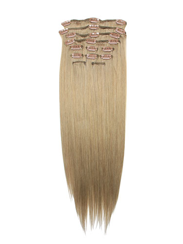 I&K Gold Clip In Straight Human Hair Extensions - Full Head #18-Ash Blonde 14 inch