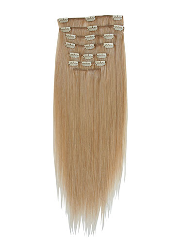I&K Gold Clip In Straight Human Hair Extensions - Full Head #20-Dark Blonde 14 inch