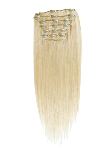 I&K Gold Clip In Straight Human Hair Extensions - Full Head #24-Light Blonde 22 inch