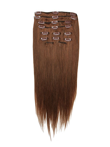 I&K Clip In Human Hair Extensions - Full Head #4R-Reddish Chocolate Brown 18 inch