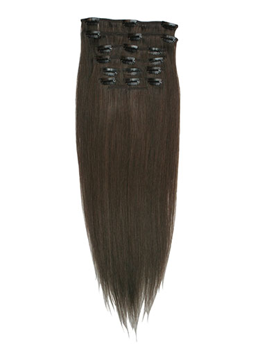 I&K Gold Clip In Straight Human Hair Extensions - Full Head #5-Dark Ash Brown 18 inch