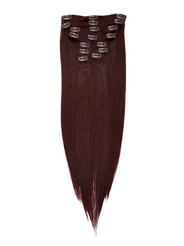 I&K Clip In Human Hair Extensions - Full Head #99J-Wine Red 22 inch