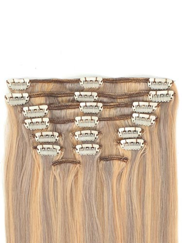 I&K Gold Clip In Straight Human Hair Extensions - Full Head #18/22 18 inch