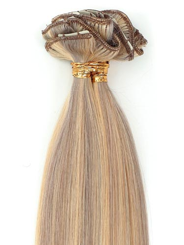 I&K Gold Clip In Straight Human Hair Extensions - Full Head #18/613 22 inch