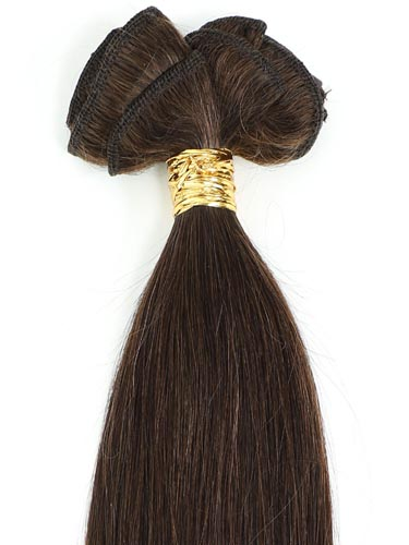 I&K Gold Clip In Straight Human Hair Extensions - Full Head #2-Darkest Brown 22 inch