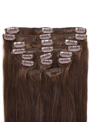 I&K Gold Clip In Straight Human Hair Extensions - Full Head #4-Chocolate Brown 14 inch