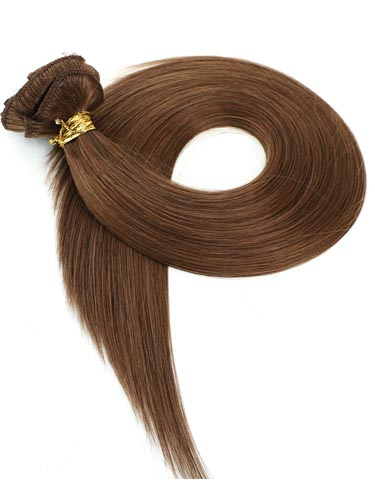 I&K Gold Clip In Straight Human Hair Extensions - Full Head #6-Medium Brown 22 inch
