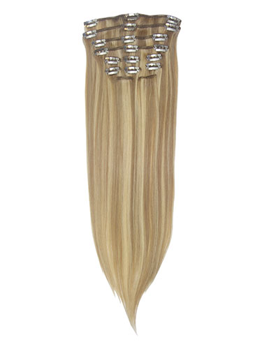 I&K Gold Clip In Straight Human Hair Extensions - Full Head #10/16 22 inch