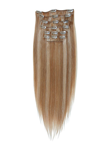 I&K Gold Clip In Straight Human Hair Extensions - Full Head #24/27 18 inch