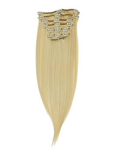 I&K Gold Clip In Straight Human Hair Extensions - Full Head #24/613 14 inch
