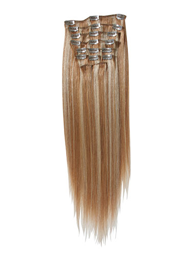 I&K Gold Clip In Straight Human Hair Extensions - Full Head #27/613 18 inch