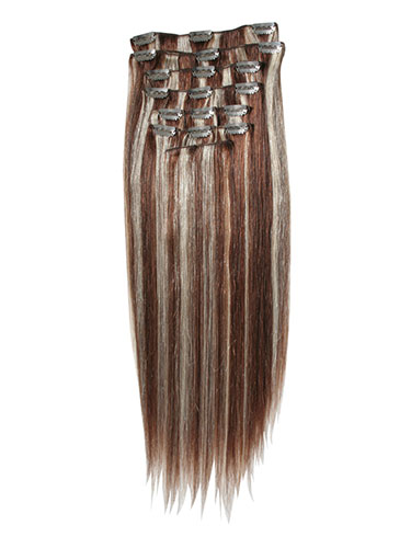 I&K Gold Clip In Straight Human Hair Extensions - Full Head #6/613 14 inch
