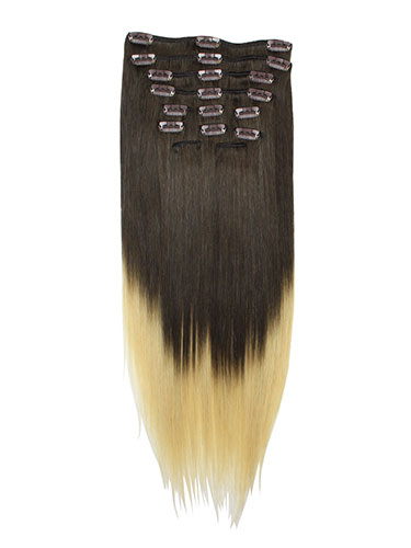 I&K Gold Clip In Straight Human Hair Extensions - Full Head #T2/24 18 inch