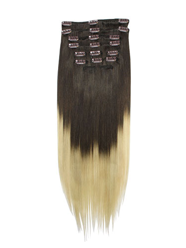I&K Gold Clip In Straight Human Hair Extensions - Full Head #T2/613 18 inch