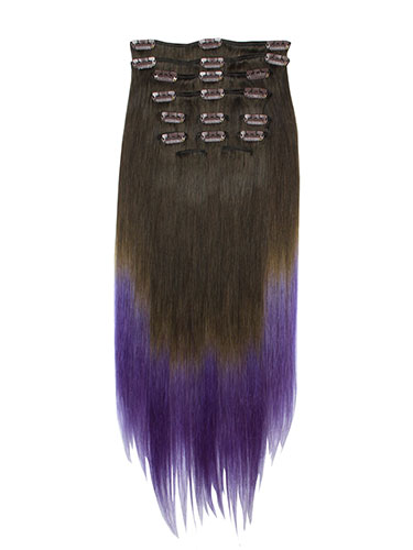 I&K Gold Clip In Straight Human Hair Extensions - Full Head #T2/Lavender 22 inch
