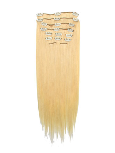 I&K Gold Clip In Straight Human Hair Extensions - Full Head #T22/613 18 inch