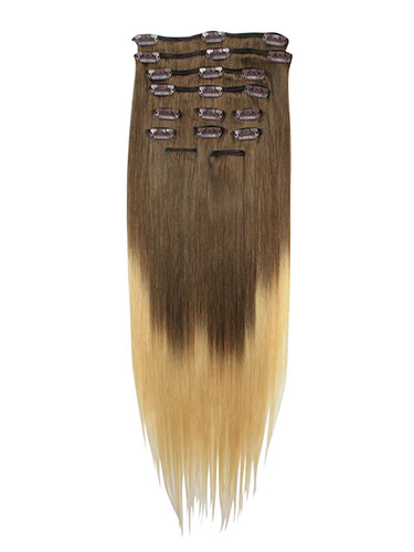 I&K Gold Clip In Straight Human Hair Extensions - Full Head #T4/22 18 inch