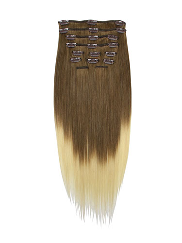 I&K Gold Clip In Straight Human Hair Extensions - Full Head #T4/613 22 inch