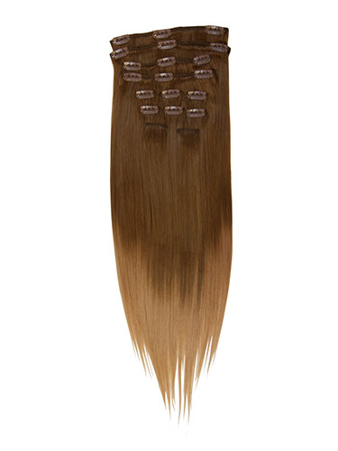 I&K Gold Clip In Straight Human Hair Extensions - Full Head #T6/27 18 inch