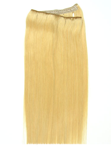 I&K Wire Quick Fit One Piece Human Hair Extensions #24-Light Blonde 18 inch