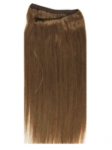 I&K Wire Quick Fit One Piece Human Hair Extensions #8-Light Brown 18 inch