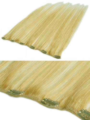 I&K Clip In Human Hair Extensions - Quick Length Piece #24-Light Blonde 18 inch