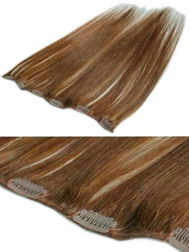 I&K Clip In Human Hair Extensions - Quick Length Piece #30-Auburn 18 inch
