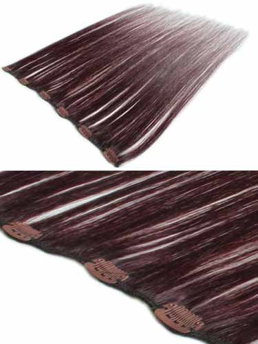I&K Clip In Human Hair Extensions - Quick Length Piece #99J-Wine Red 18 inch