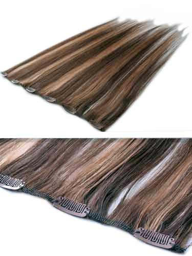 I&K Clip In Human Hair Extensions - Quick Length Piece #4/27 18 inch