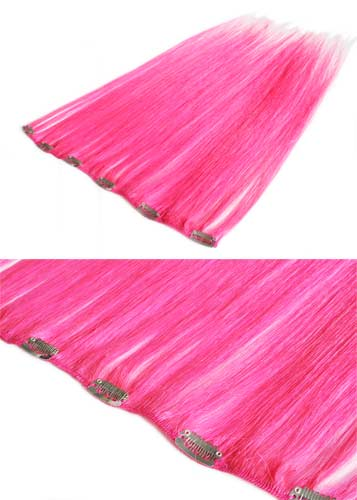 I&K Clip In Human Hair Extensions - Quick Length Piece #Pink 18 inch