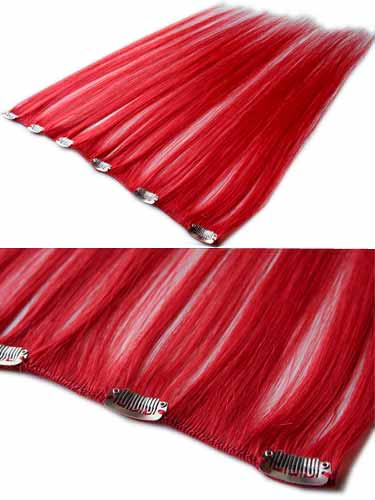 I&K Clip In Human Hair Extensions - Quick Length Piece #Red 18 inch