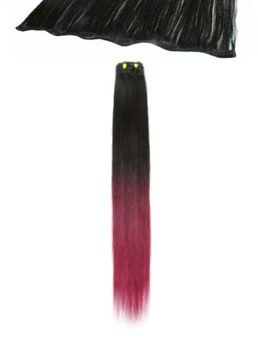 I&K Clip In Human Hair Extensions - Quick Length Piece #T2/Burg 18 inch
