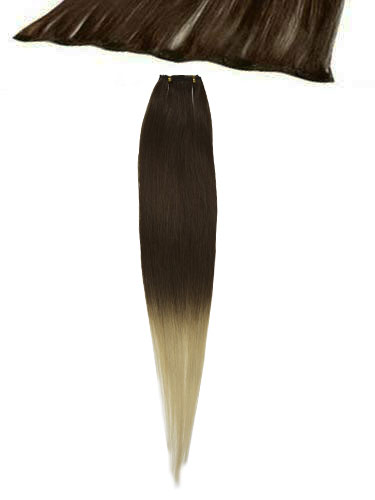 I&K Clip In Human Hair Extensions - Quick Length Piece #T4/613 18 inch