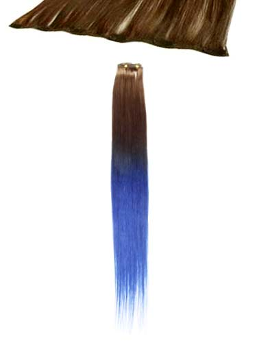 I&K Clip In Human Hair Extensions - Quick Length Piece #T6/Blue 18 inch