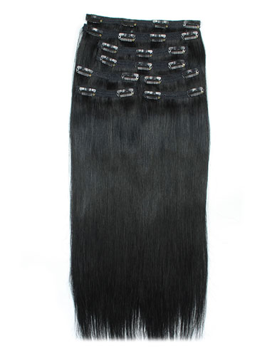 I&K Remy Clip In Hair Extensions - Full Head #1-Jet Black 22 inch